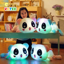 35cm Colorful Led Pillow Glowing Panda Plush Doll Luminous Toys Birthday Gift for Girls(China)