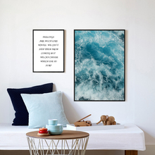 Unframed Nordic Style Canvas Print Painting Posters of Sea Water Waves and Quote,Wall Pictures For Living Room LZ707&LZ708(China)