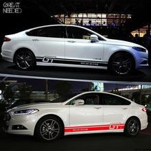 Car Styling Body Waist Car Stickers Door Side Scratches Decorative Decals Racing sticker For Ford VW BMW Toyota Audi Honda Mazda(China)