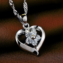 LIAMTING Newest 100% Pure 925 Sterling Silver Heart Pendant Necklace Women Jewelry With 5A Cubic Zircon Pendant Chains VA158