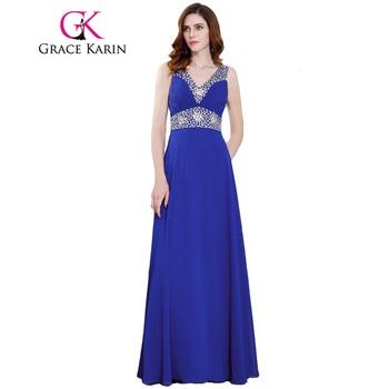 Grace Karin Bleu Royal Robes De Bal Col En V En Mousseline de Soie Sequin Perlé Élégant Longue Formelle de Soirée Dress Pageant Wedding Party