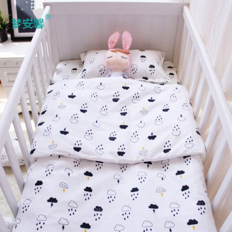 3pcs/set baby bedding set cotton crib bedding for newborn black white clouds raindrop design flat sheet duvet cover pillowcase<br>