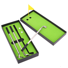 3pcs Mini Golf Clubs Models Ballpoint Pens 2 Golf Balls + Flag Putter Kit Set with Box Birthday Gift for Golf Sports Enthusiast(China)
