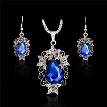 H:HYDE Blue Crystal Jewelry Sets Luxury Vintage Party Water Drop 4 Colors CZ Necklace&Earrings Fine Jewelry Colar Feminino