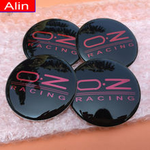 SHUAIZHONG 4pcs 65mm Black Red OZ Racing logo Car Wheel Center Hub Cap sticker rim Dust-proof Badge emblem covers decal styling(China)