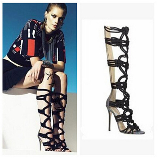 Sexy Braided Rope Leather Patch Gladiator Sandals Women Boots Caged Cut Outs Knee High Boots High Heels Shoes Woman Botas Mujer (6)