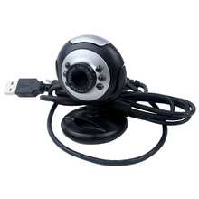 USB 6 LED Night Vision Camera PC Webcam Network with Microphone for MSN ICQ AIM Reunion Skype Net, Black
