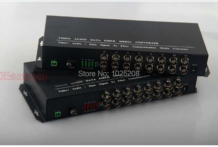 1pair 16 channel video data fiber optic media converter,16v1d,RS485 FC / Single mode