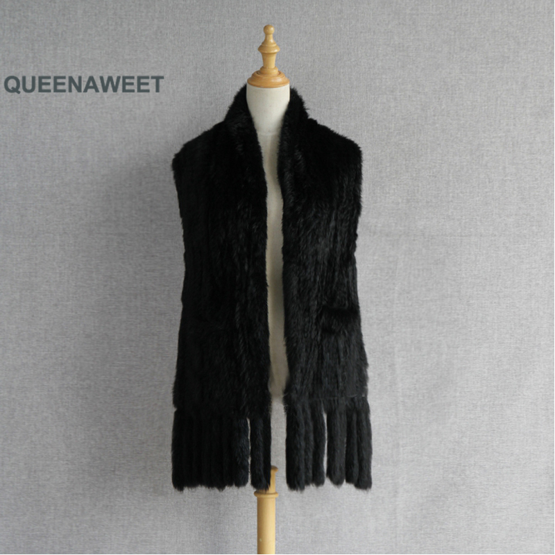 Real Fur Long Scarf Fashion Real Knit Rabbit Fur Scarf With Pocket Tassels Shawl Cape Stole Winter Warm
