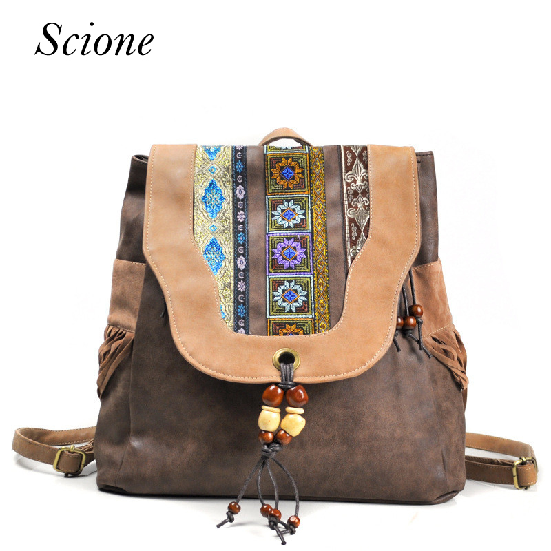 Brand New Design Womens Hasp PU Flap Backpack Chinese National Style Ethnic Embroidery Vintage Beading Tassels School Backpack <br>