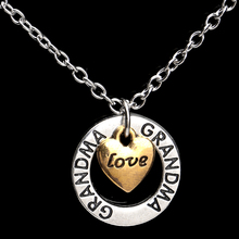 New Arrival Charms Heart Cricle Love Grandma Stamped Vintage Jewelry Pendant Necklace Personalized Family Gifts Party Dress