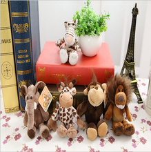 5pcs14cm to 15cm pendant keychain Germany NICI Jungle Brother Tiger Elephant Monkey Lion Giraffe Plush Animal Toy Free Shipping