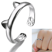 Hot sale! Women's Cute Cat Ear Claw Open Ring  Silver Plated Finger Animal Jewelry AU1G