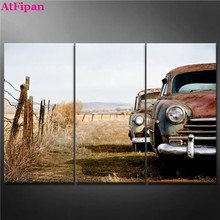 AtFipan Canvas Wall Art Painting Vintage Car Abandoned and Rusting Away in Rural Wyoming Wall Picture For Living Room HD Posters