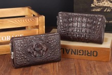 100% genuine alligator crocodile head skin leather long size men clutch wallet purse with password code locker and hand holder,(China)