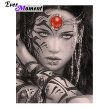 Cool Female Girl Warrior Portrait DIY 5D Diamond Painting Mosaic Kit Embroidery Diamond Needlework Fantasy Patchwork Gift ASF693(China)