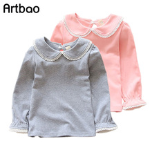 Artbao New children T-shirts for girls spring autumn cotton girls clothing pink white kids Tee solid girls long sleeve shirts