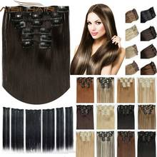 False Hair Extensions 16 Clips 6pcs/set 23inch 140g Clip In Synthetic Hair Extensions Multicolor Heat Resistant Hairpiece