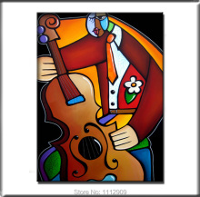 Free Shipping Hand painted Modern Music Pop art oil paintings on canvas Abstract Guitar painting for wall decor