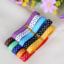 10mm Random Mix Color Dot Printed Grosgrain Ribbon Garment Sewing Accessories DIY Decorative arts and crafts 10y/lot (1y/color)