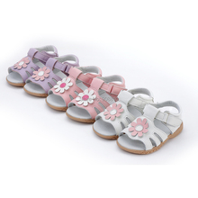little girls sandals T-strap summer shoes baby gift children shoes toddler nonslip sole white pink daisy flowers handmade stock(China)