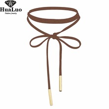 Hot Choker Necklace Women Coffee Color Velvet Chokers Necklaces for Girls Fashion Jewelry NW3467