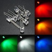 10pcs 5mm Flat Top LED Light White/Yellow/Red/Blue/Green Water Clear LED Emitting Diodes Light Assortment Lamp DIY Lighting