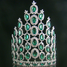 zerongE jewelry10inch Luxurious tall Pageant crown large green miss world diadem carnival costume hair  jewelry crown