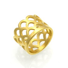 Mopera Brand Jewelry Fashion IP Gold Color Hollow Out Fish Scale Ring For Women New Stainless Steel Finger Ring Jewelry Anel