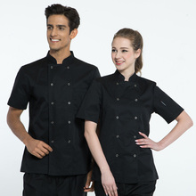 Short sleeve stand collar colorfast and shrink resistant cotton kichen black chef jacket uniform for chef cook baker