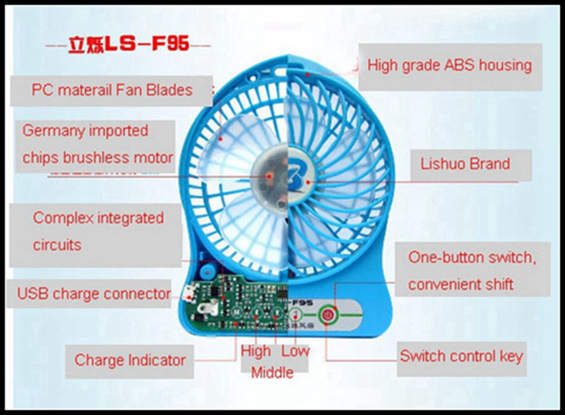 LISHUO USB rechargeble Mini Fan 7