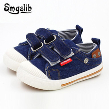 Size 21-30 Kids Shoes for toddler Girls Boys Sneakers Jeans Denim Running Sport Baby canvas sneakers flat children Shoes(China)