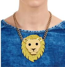 Black Golden lion Head Pendant Necklace Halloween Jewelry Gothic theme Neckalce Alternatives Accessories(China)