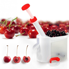 Easy Cherry Seed Remover Cherry Pitter Stone Picker Cherry Corer With Container Kitchen Gadgets Tool Cookware Accessories(China)