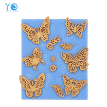 YO Butterfly Silicone Cake Mold Silicone Lace Mold Fondant Cake Decorating Tools Chocolate Mold Silicone Mold Cake Tools(China)