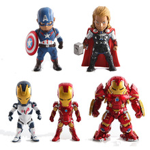 5pcs The avengers Interactive Hulk Iron man action figuras 2016 New Captain America shield  Thor hammer figurine car Decoration