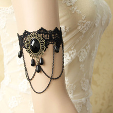Womens New Ladies Handmade Layered Chain Flower Black Lace Oval Beads Drop Arm Band Armband Armlet Bracelet Gothic Dance Vintage(China)
