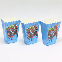 10pcs/lot avengers alliance Party Supplies Popcorn Box Gift Box Favor Accessory Birthday Party Supplies Kid Event&Party Supplies