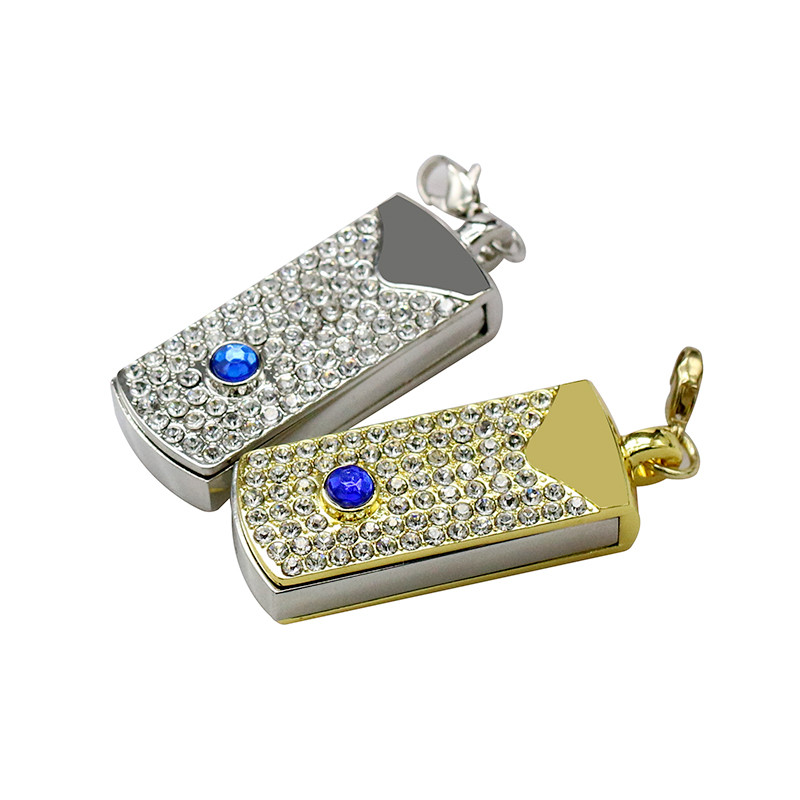 Metal Crystal Full Diamond Rotary Key Chain USB 2.0 Flash Drive 4GB 8GB 16GB 32GB 64GB 128GB Flash Disk Memory Stick Pendrive 32