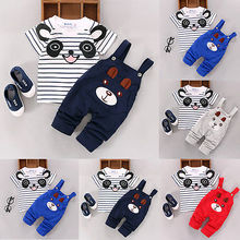 2016 summer baby girl clothes kids gils shorts denim clothing 2pcs Cartoon Toddler Baby Infant Boys Outfits T-shirt Bib Pants