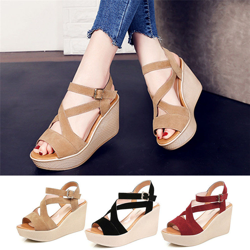 Strap Sandals Buckle Platform Slope High-Heels Outdoor-Style Fish-Mouth Women Ladies title=