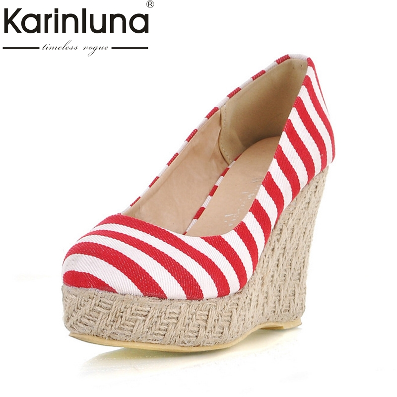 Karinluna 2018 Wholesale Dropshipping Spring Brand Shoes Woman Pumps Shoes Woman Fashoin Wedges high-heeled Wedding Shoes<br>