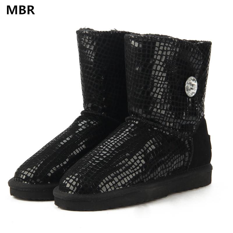 MBR Australia Classic  Top Hot Sale Fashion Genuine Cowhide Leather Snow Boots Winter Fur Waterproof Women Shoes UG Botas Mujer<br>
