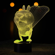 Funny 3D LED Atmosphere Night Lamp LED Animal Squirrel Pattern Desk Lamp with USB Power Lights