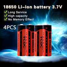 YCDC 4pcs/lot Original 18650 Li-ion 3000 mAh 3.7V Lithium Battery 18650 Rechargeable Battery For laser pointers flashlights