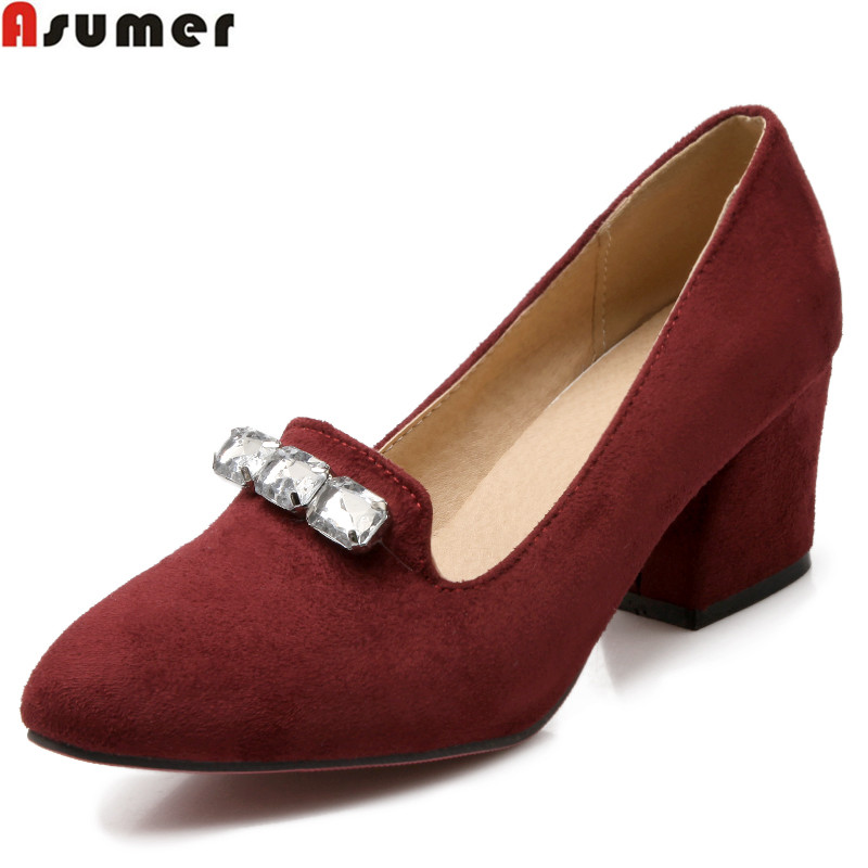 Big size 34-43 new fashion thick heels women pumps rhinestone suede simple casual shoes woman ladies wedding pumps<br><br>Aliexpress