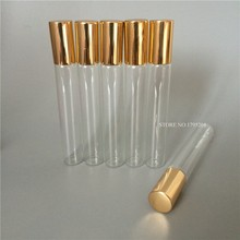 10X10ml clear Roll on Bottle for essential oils With Gold Cap Vials Essential Oil Glass Roller Ball Perfume Bottles Wholesale