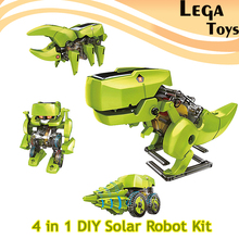 4-IN-1 DIY Assemble Solar Powered Block Kit, Assembling Toys Robot Dinosaur Model Building Kit Science Educational Novelty Toys