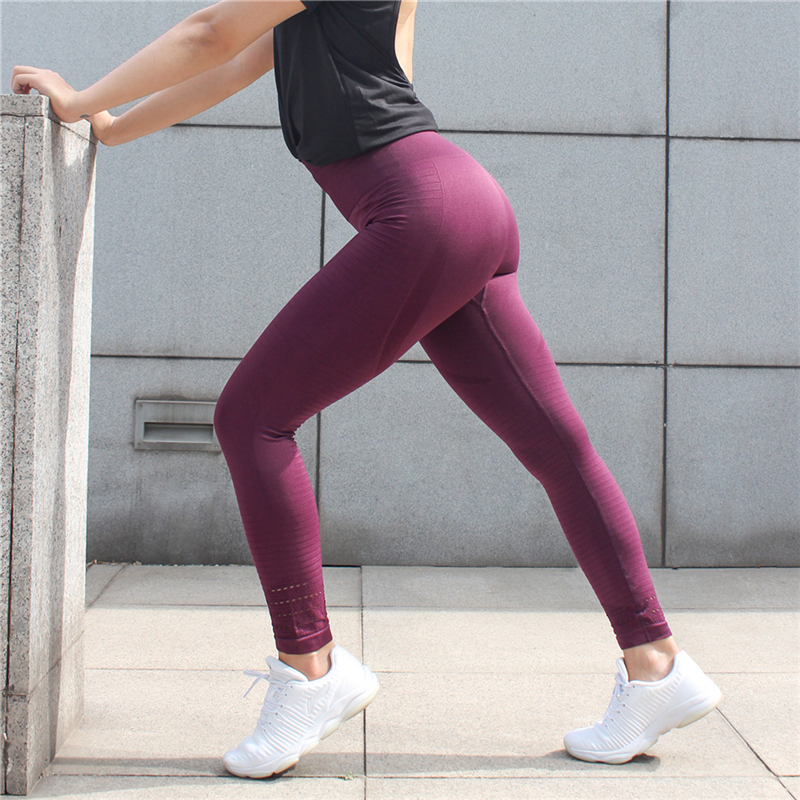 TRENDINAO Womens Gradient Leggings Seamless Gym Power Stretch High Waisted Yoga Trousers Running Workout Tights Pants