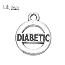 my shape Antique Silver Plated DIABETIC Medical Alert Charms Pendant in Circle Insulin Jewelry Alloy Metal Wholesale 30pcs(China)